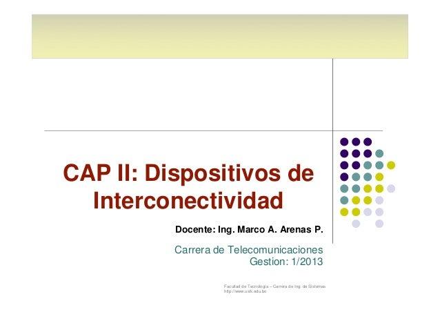 Facultad de Tecnología – Carrera de Ing. de Sistemas http://www.usfx.edu.bo CAP II: Dispositivos de Interconectividad Doce...