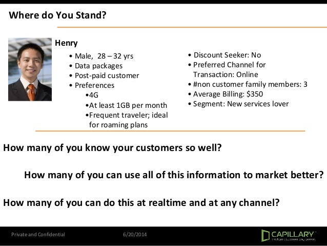 Private and Confidential 6/20/2014 Where do You Stand? Henry • Male, 28 – 32 yrs • Data packages • Post-paid customer • Pr...