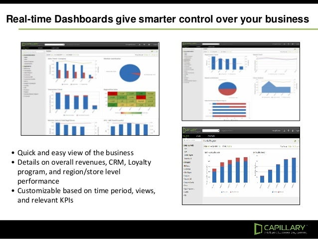 Real-time Dashboards give smarter control over your business • Quick and easy view of the business • Details on overall re...