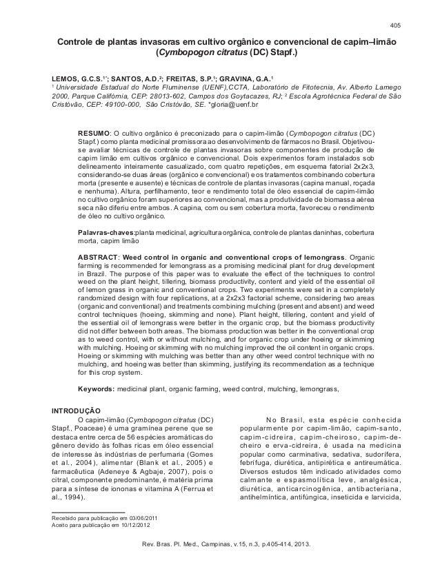 405  Controle de plantas invasoras em cultivo orgânico e convencional de capim–limão (Cymbopogon citratus (DC) Stapf.) LEM...