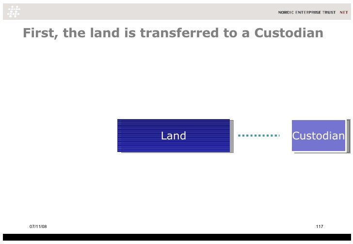 First, the land is transferred to a Custodian Land Custodian 06/06/09