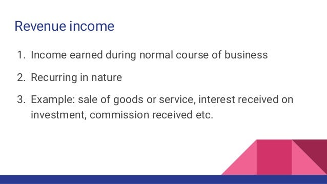 capital income and revenue income examples