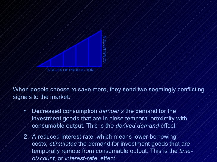 STAGES OF PRODUCTION CONSUMPTION When people choose to save more, they send two seemingly conflicting signals to the marke...