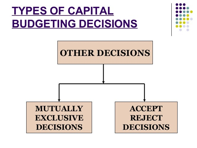 types of capital budgeting decisions Start studying capital budgeting  real options allow managers to make future decisions that change the value of capital budgeting decisions  types of real.