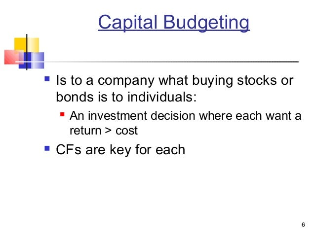 cap budgeting Capital budgeting is an investment appraisal technique for evaluating big investment projects net present value (npv), benefit to cost ratio, internal rate of return (irr), payback period and accounting rate of return are some prominent capital budgeting techniques widely used in the finance arena.