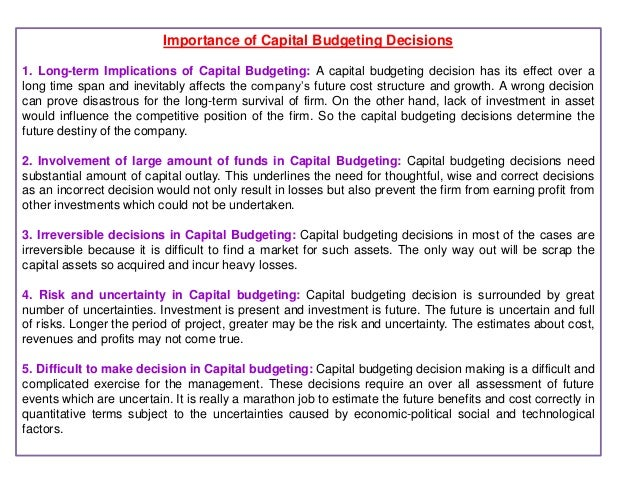 the importance of capital budgeting for company investment projects By our reckoning, for example, energy and petroleum companies have already had to trim between 20 and 50 percent off their current year's capital budget over last it impossible to play a more constructive role in challenging proposals, comparing projects, or assessing the tradeoffs of investing in one project over another.