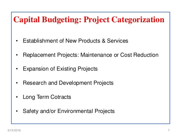 research topic on capital budgeting