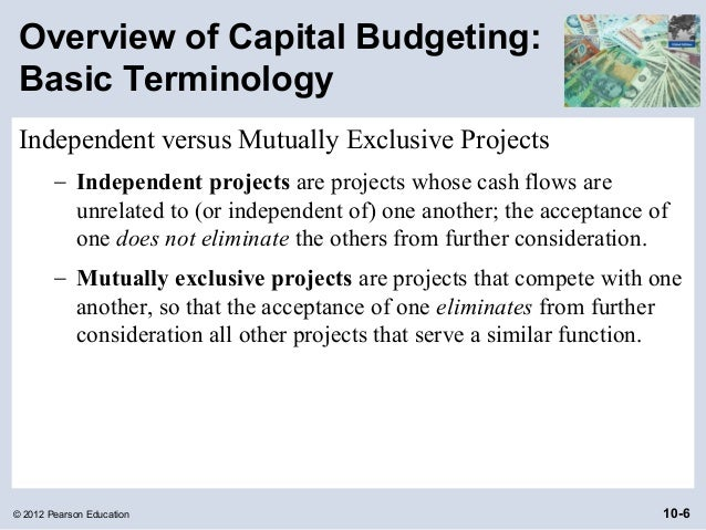 phases of capital budgeting Capital budgeting methods relate to decisions on whether a client should invest in a long-term project, capital facilities & equipment.