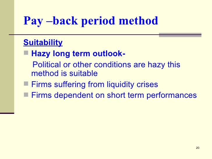 capital appraisal methods Factors determining the selection of capital budgeting techniques ibrahim e ahmed1 abstract many studies explore only use or non-use of capital budgeting methods, and not the factors that determine the selection of the method used in uae or the region the relationships between use and independent variables that affect the selection of the.