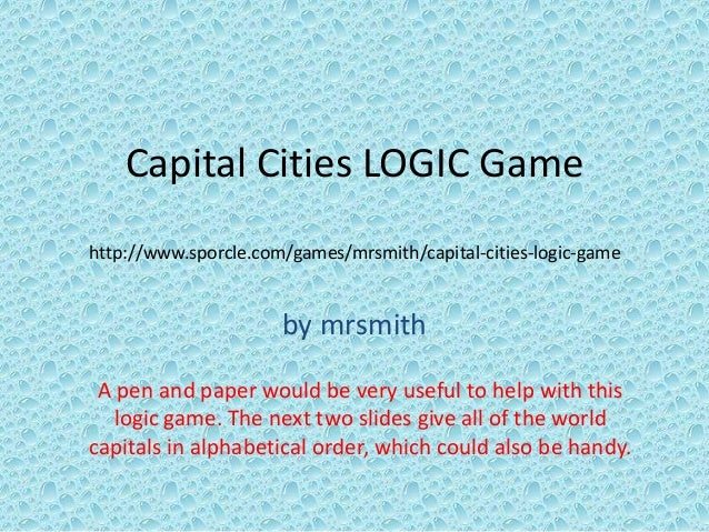 Capital Cities LOGIC Game - Sporcle capitals