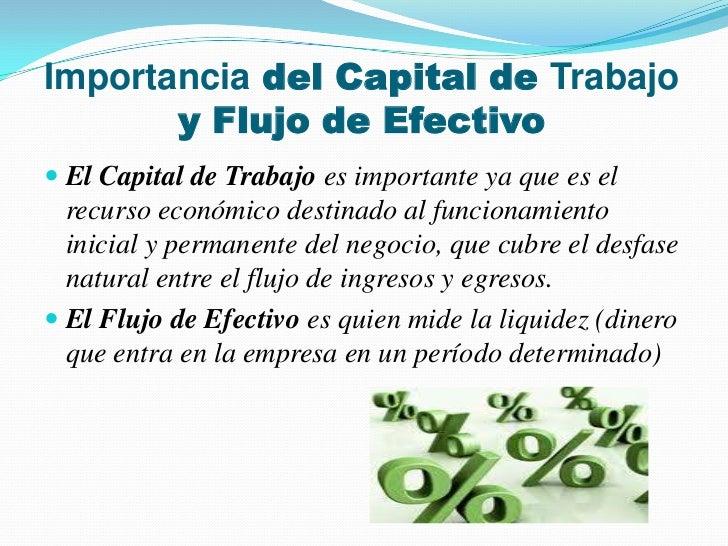 Capital de trabajo y flujo de efectivo for Que es trabajo de oficina