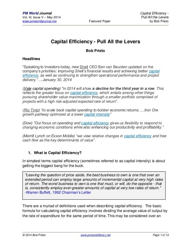 PM World Journal Capital Efficiency - Vol. III, Issue V – May 2014 Pull All the Levers www.pmworldjournal.net Featured Pap...