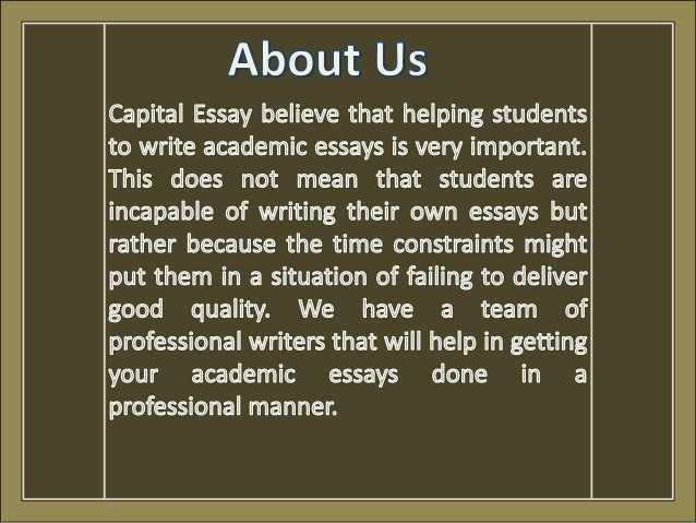 Capital essay writing