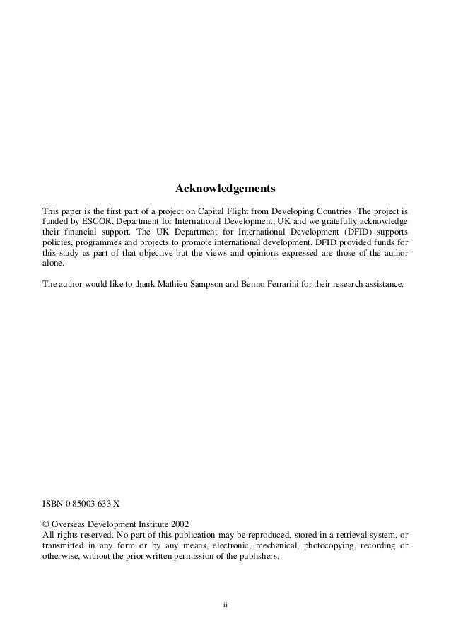ii Acknowledgements This paper is the first part of a project on Capital Flight from Developing Countries. The project is ...