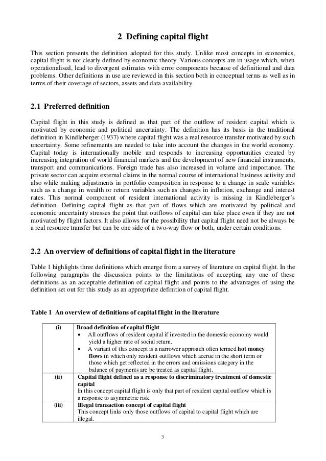 3 2 Defining capital flight This section presents the definition adopted for this study. Unlike most concepts in economics...