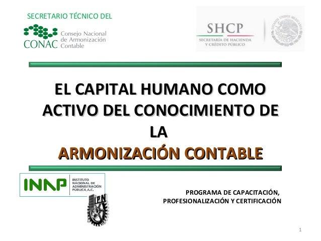 SECRETARIO TÉCNICO DEL    EL CAPITAL HUMANO COMO   ACTIVO DEL CONOCIMIENTO DE                LA     ARMONIZACIÓN CONTABLE ...