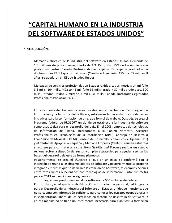 """CAPITAL HUMANO EN LA INDUSTRIA  DEL SOFTWARE DE ESTADOS UNIDOS""*INTRODUCCIÓN.     Mercados laborales de la industria del ..."