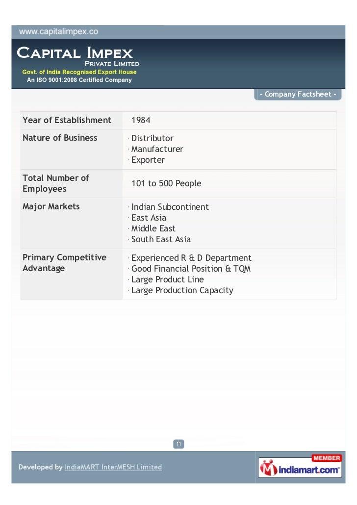 - Company Factsheet -Year of Establishment   1984Nature of Business      Distributor                        Manufacturer  ...