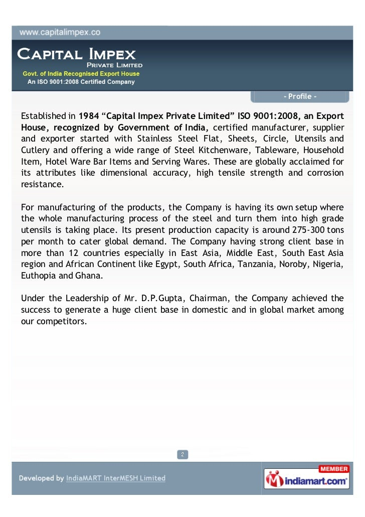 """- Profile -Established in 1984 """"Capital Impex Private Limited"""" ISO 9001:2008, an ExportHouse, recognized by Government of ..."""