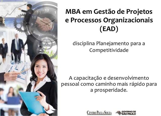 MBA em Gestão de Projetos  e Processos Organizacionais  (EAD)  disciplina Planejamento para a  Competitividade  A capacita...