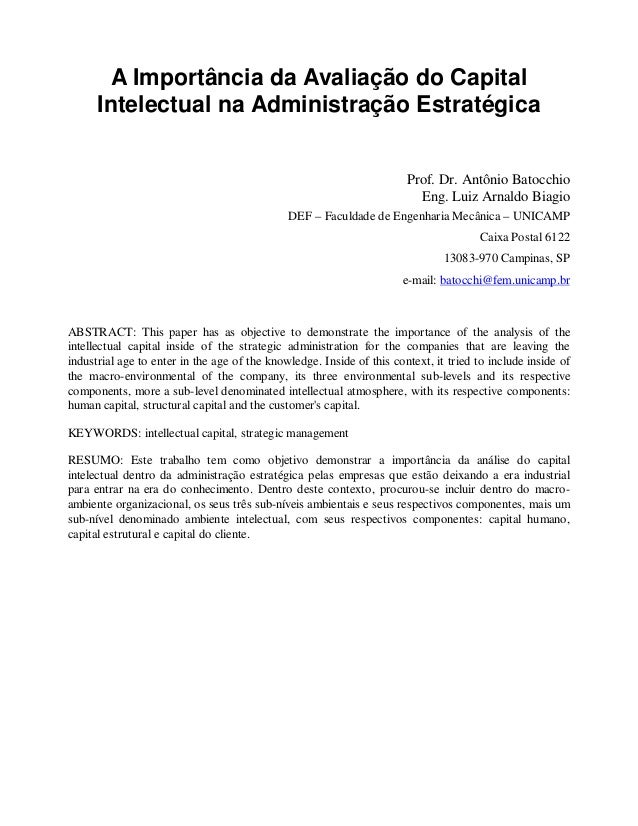 A Importância da Avaliação do Capital Intelectual na Administração Estratégica Prof. Dr. Antônio Batocchio Eng. Luiz Arnal...