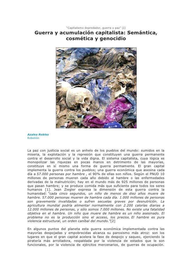 """""""Capitalismo depredador, guerra y paz"""" (I)    Guerra y acumulación capitalista: Semántica,               cosmética y genoc..."""