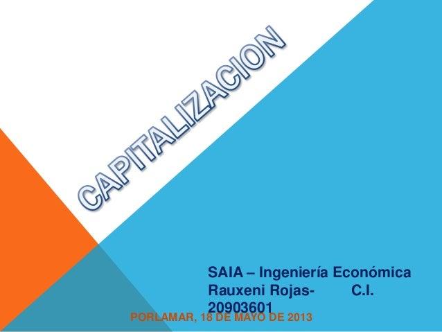 SAIA – Ingeniería EconómicaRauxeni Rojas- C.I.20903601PORLAMAR, 18 DE MAYO DE 2013