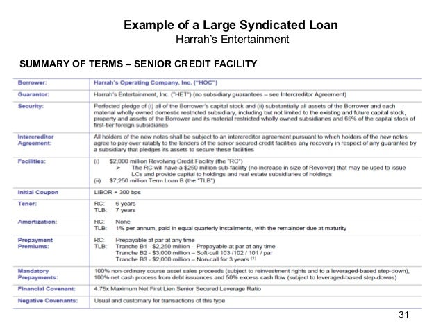 Capitalmarkets example of a large syndicated loan harrahs entertainment corporate structure 30 21 platinumwayz