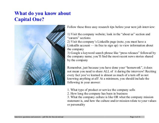 Capital one interview questions and answers