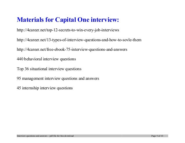 ... 9. Materials For Capital One ...