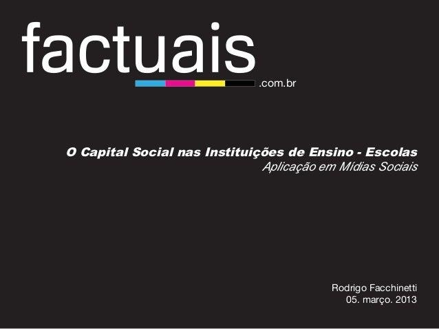 O Capital Social nas Instituições de Ensino - EscolasAplicação em Mídias SociaisO Capital Social nas Instituições de Ensin...