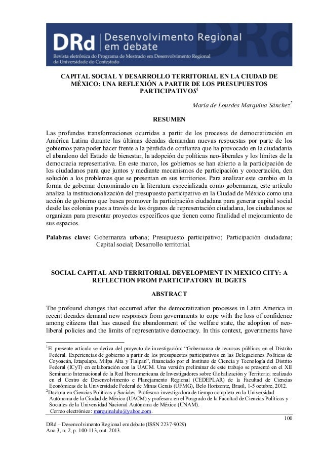 100 DRd – Desenvolvimento Regional em debate (ISSN 2237-9029) Ano 3, n. 2, p. 100-113, out. 2013. CAPITAL SOCIAL Y DESARRO...