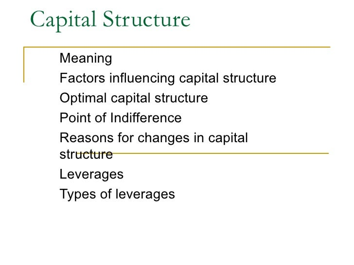 Capital Structure  Meaning  Factors influencing capital structure Optimal capital structure  Point of Indifference  Reason...