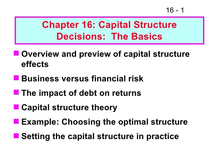 Chapter 16: Capital Structure Decisions:  The Basics <ul><li>Overview and preview of capital structure effects </li></ul><...