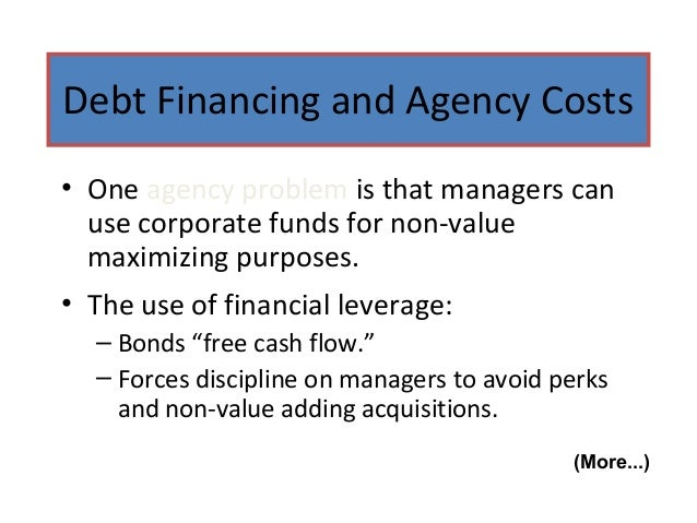 agency costs of overvalued equity Dmanagers prefer to issue equity when equity is overvalued  contrary to the target capital structure approach,  avoiding agency costs.