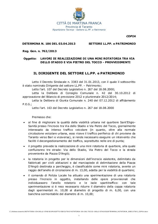 CITTÀ DI MARTINA FRANCAProvincia di TarantoRipartizione Tecnica - Settore LL.PP. e PatrimonioC:AbbracciaventoROTATORIA VIA...