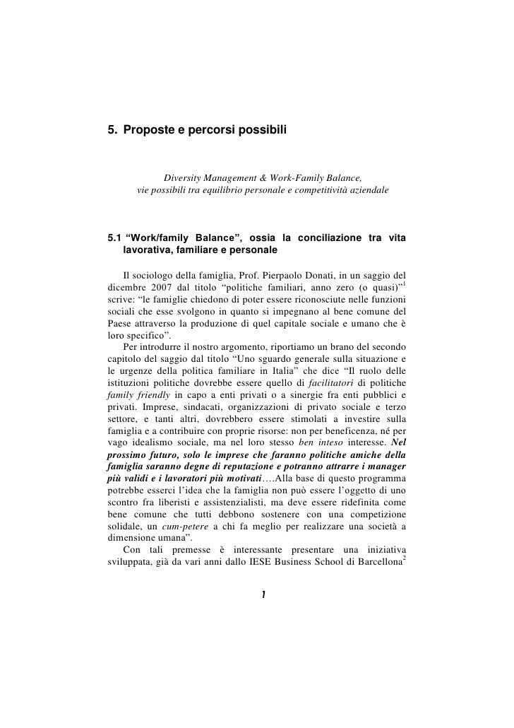 5. Proposte e percorsi possibili                 Diversity Management & Work-Family Balance,        vie possibili tra equi...