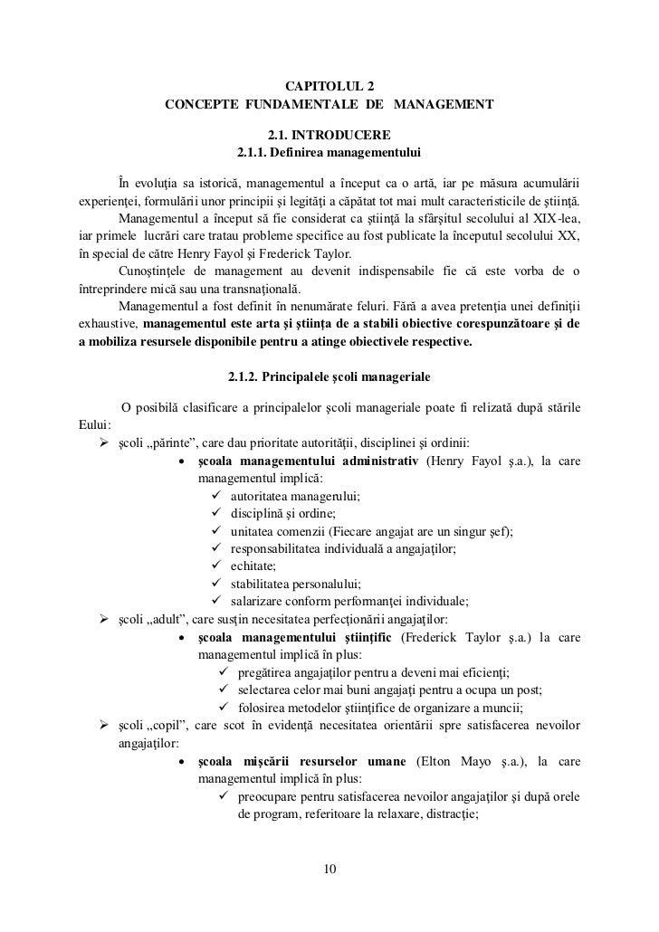 CAPITOLUL 2                 CONCEPTE FUNDAMENTALE DE MANAGEMENT                                      2.1. INTRODUCERE     ...