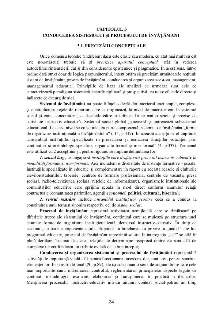 CAPITOLUL 3         CONDUCEREA SISTEMULUI ŞI PROCESULUI DE ÎNVĂŢÂMANT                             3.1. PRECIZĂRI CONCEPTUA...