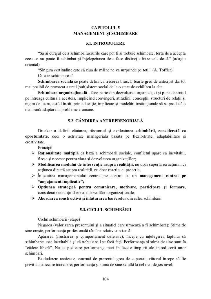 CAPITOLUL 5                             MANAGEMENT ŞI SCHIMBARE                                     5.1. INTRODUCERE      ...
