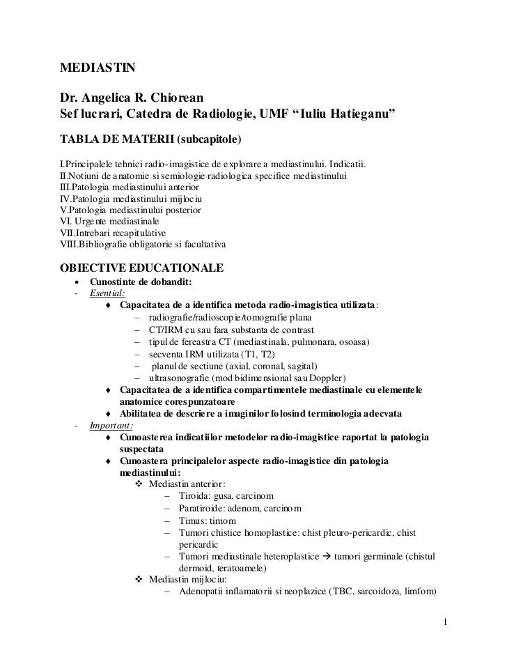 "MEDIASTINDr. Angelica R. ChioreanSef lucrari, Catedra de Radiologie, UMF ""Iuliu Hatieganu""TABLA DE MATERII (subcapitole)I...."