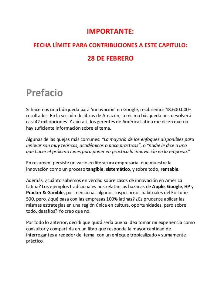 IMPORTANTE:   FECHA LÍMITE PARA CONTRIBUCIONES A ESTE CAPITULO:                             28 DE FEBREROPrefacioSi hacemo...