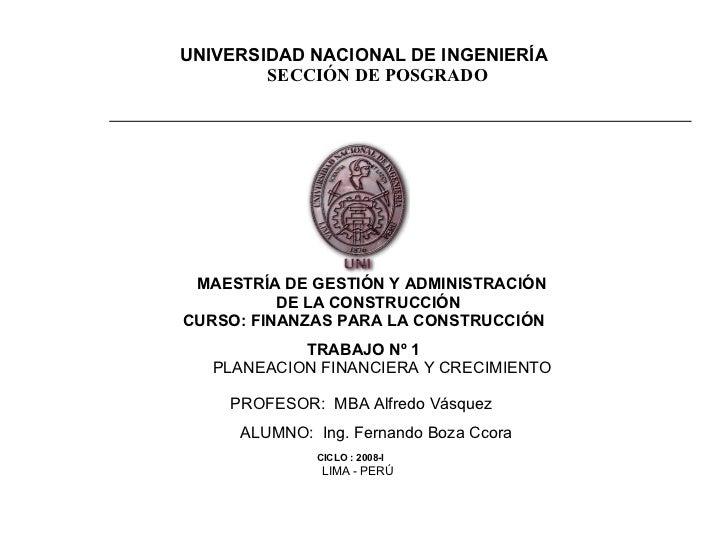 UNIVERSIDAD NACIONAL DE INGENIERÍA SECCIÓN DE POSGRADO                  MAESTRÍA DE GESTIÓN Y ADMINISTRA...