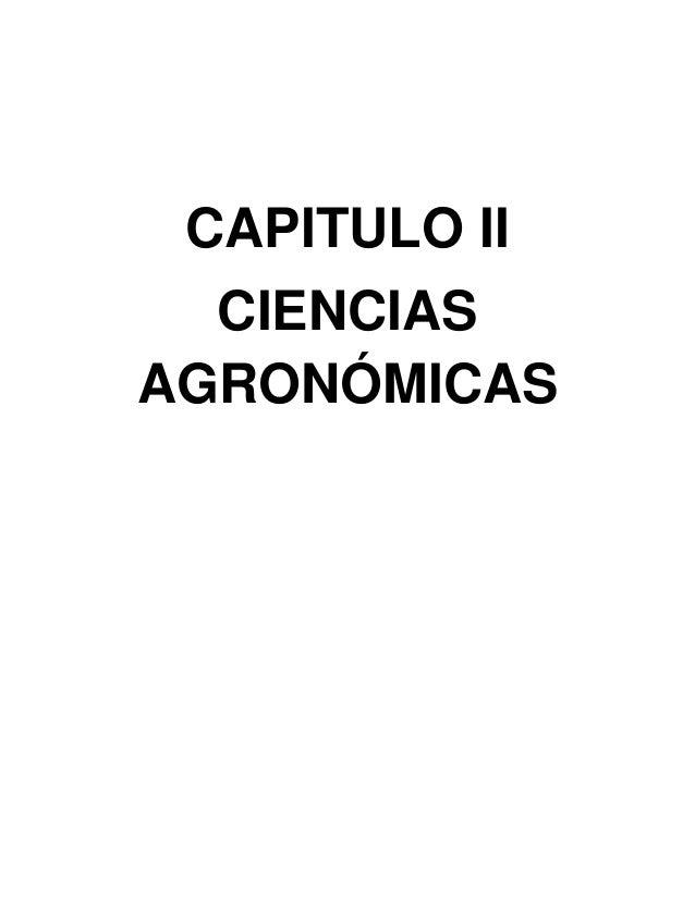 CAPITULO II CIENCIAS AGRONÓMICAS
