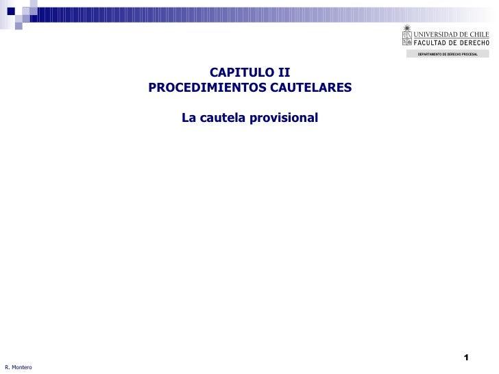 CAPITULO II PROCEDIMIENTOS CAUTELARES La cautela provisional R. Montero DEPARTAMENTO DE DERECHO   PROCESAL