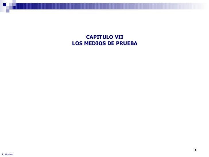 CAPITULO VII LOS MEDIOS DE PRUEBA R. Montero
