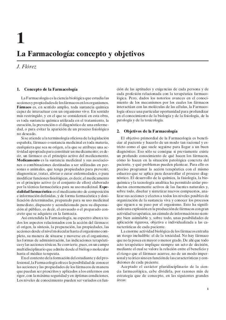 1La Farmacología: concepto y objetivosJ. Flórez1.   Concepto de la Farmacología                                ción de las...