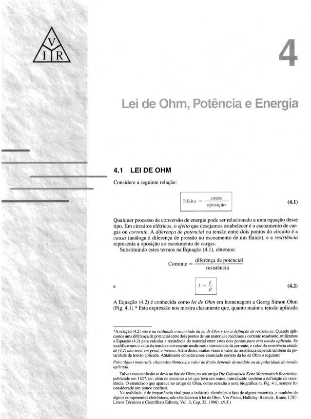"""mergia  LEI DE OHM  Considere a seguinte relagfio:   4.1  (4.1)  OPUS 1g""""d0     Qualquer processo dc conversio dc energia p..."""