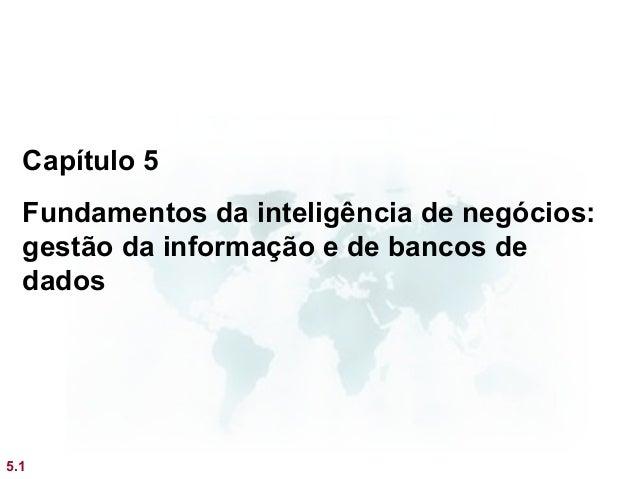 Capítulo 5  Fundamentos da inteligência de negócios:  gestão da informação e de bancos de  dados5.1