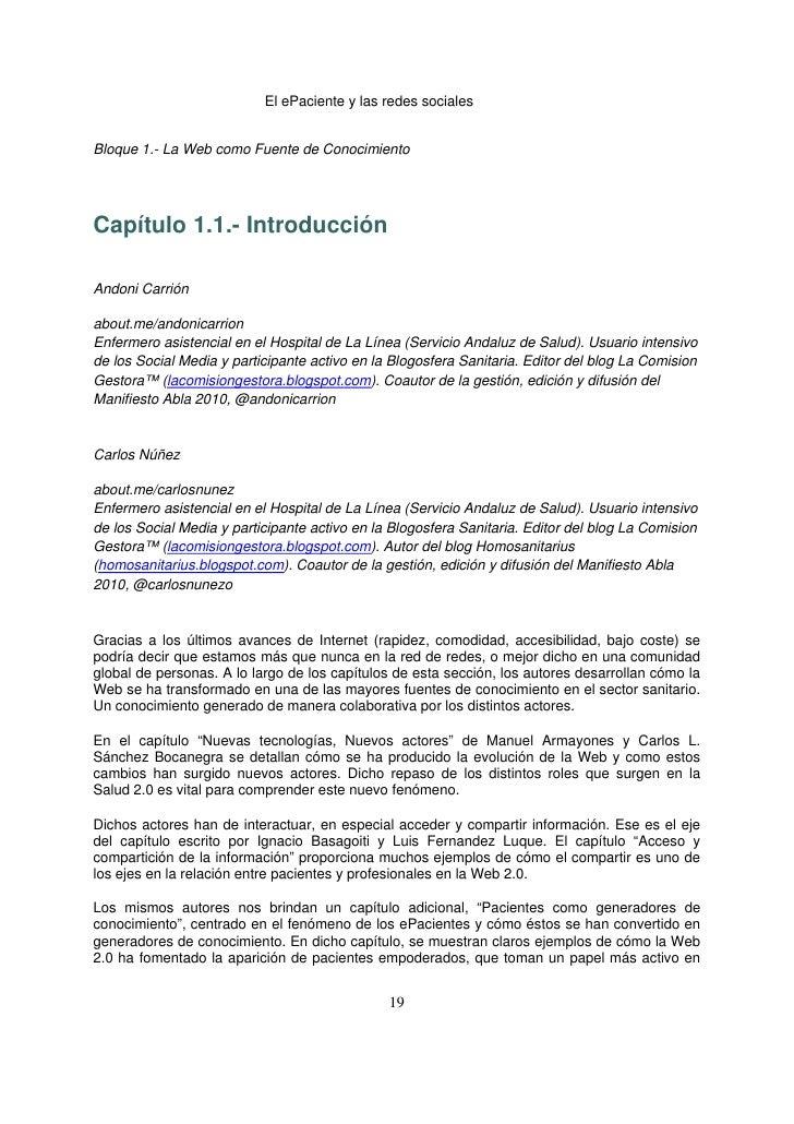 El ePaciente y las redes socialesBloque 1.- La Web como Fuente de ConocimientoCapítulo 1.1.- IntroducciónAndoni Carriónabo...